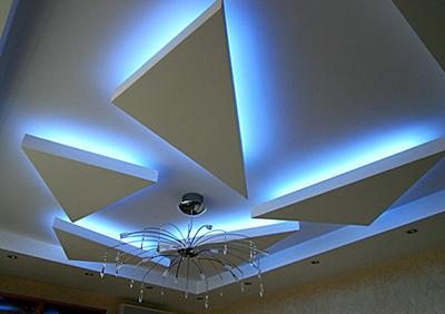 Фото использования натяжного потолка и светодиодной ленты