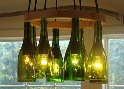 Фото-самодельный светильник из бутылок