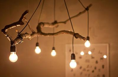 фото светильника из ветки дерева